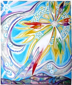 Star acrylics on paper