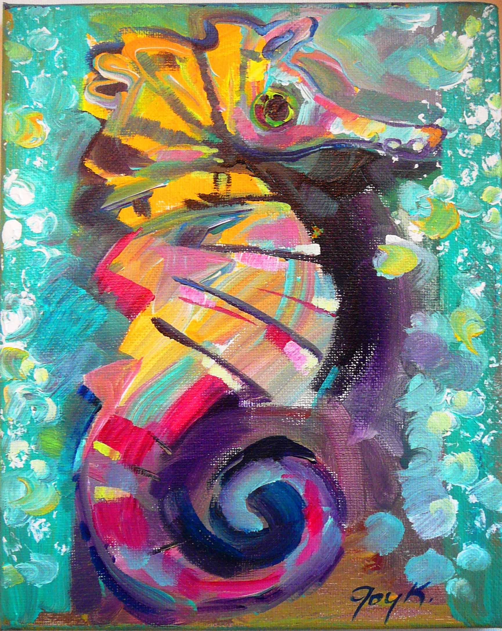 Acrylic Paintings Of Seahorses