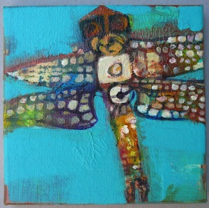 Beaded Dragonfly on Blue