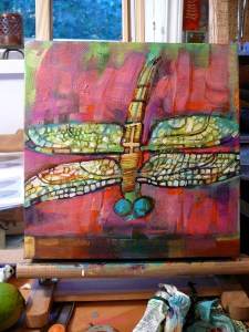 Dragonfly World on easel