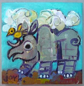 rhino and bird paint