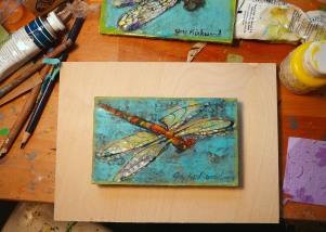 dragonfly on board in art room