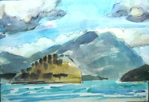 watercolour study at Sorrento Centre beach, BC