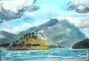 watercolour study at Sorrento Centre beach, BC